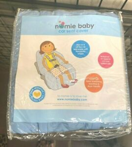 NEW NWT Nomie Baby Toddler Car Seat Cover Quilt Slip-on, Leak Proof, Baby Blue
