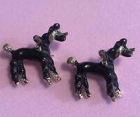 Vintage Poodle Dog Pins Brooch Gold Tone Black Enamel Green Rhinestone Eyes