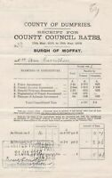 County of Dumfries 1915-16  C. Council Rates Moffat Paid Cancel Receipt Rf 39987