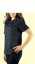 Pure Silk Short Sleeved Jacquard top. Luxury weight.