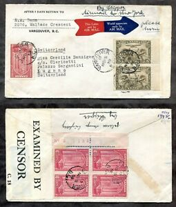p1282 - VANCOUVER 1939 Early CENSORED Cover to Switzerland; Airmail via New York