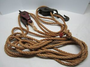 Vintage Farm Barn Pulley and Hook with Rope Rustic Decor