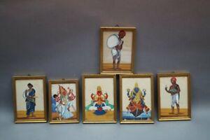 6 x schöne Malereien aus INDIEN Buddhismus Hinduismus Gottheiten und Arbeiter