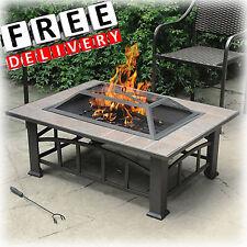 New listing Patio Fire Pit Ceramic Tile Top Wood Backyard Heater Garden Outdoor Fireplace