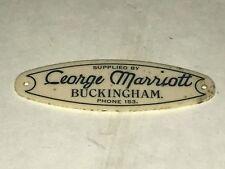 Vintage Voiture George Marriott Buckingham tableau de bord fournisseurs plaque insigne VSCC
