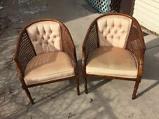 Elegant Pair of Caned French Provincial Barrel Chairs Tufted Cushions In Ivory