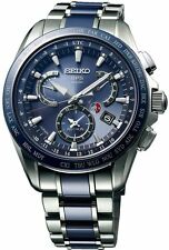 New Seiko Astron Solar GPS Dual-Time Titanium Men's Watch SSE043