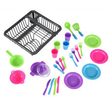 Kids Pretend Play Dishes Kitchen Playset Wash & Dry Tableware Dish Rack Toy US