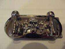 New Belt Buckle Skateboard Skull Rhinestones Bling