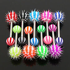 Stainless Steel Barbell with Candy Stripe Silicone Spiky Koosh Balls