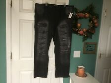 Men's SOUTHPOLE Slim Straight Black Destroyed Jeans Size 44 (CON38)