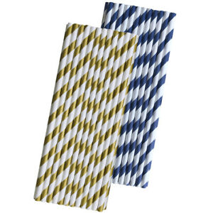 50 Gold and Navy Stripe Paper Straws