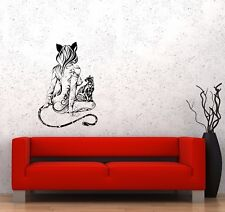 Wall Decal Naked Girl Nature Beautiful Sexy Cat Animal Ornament Sticker (ed743)