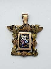 Antique Victorian Gold Filled & 10k Leaves Micro Mosaic Pendant / Brooch