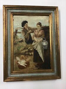 Antique Oil/Board In Newcomb Macklin Frame