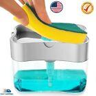 2 in1 Kitchen Liquid Soap Pump ABS Dispenser Sponge Holder Press Countertop Rack photo