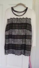 Country Casuals ivory top with black lace overlay size L petite