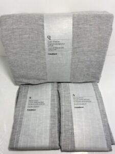 Crate and Barrel Queen Sheet Set Linen Grey w/ 2 Pinstripe Shams Portugal NWT