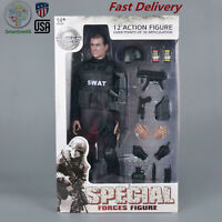 """1/6 Soldier Action Figure 12"""" SWAT Black Uniform Model Military Army Suit Gifts"""