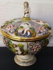 Capodimonte Porcelain Pedestal Bowl Dish &Lid Nude Cherub Children Italy 1366/76