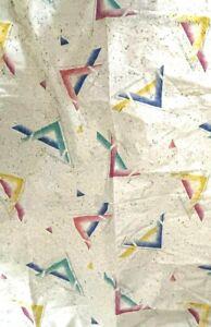 Vtg 80s Retro Geometric Airbrush Triangle Bathroom Shower Curtain