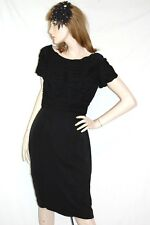 vtg 50's 60s  CLIFTON WILHITE ruched MARILYN MONROE wiggle Black PARTY DRESS