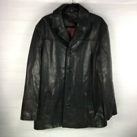 Rogue Mens Reilly Leather Jacket Coat Size Large Black Button Up Lined