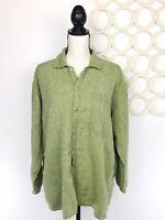 FLAX Jeanne Engelhart Women's Linen Oversized Shirt Lagenlook Button Up Green  M