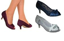 Ladies Satin Lace Silver Navy Purple Evening Wedding Low Heel PeepToe Shoes Size