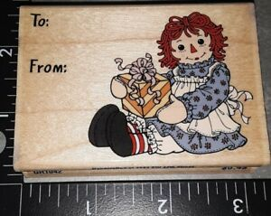 Raggedy ann and andy to from,stampabilities,281,rubber, wood