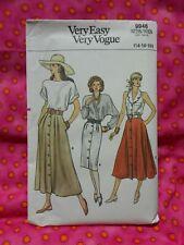 Vintage 1980's VOGUE sewing pattern 9946. SKIRTS. Sizes 14 - 16 - 18. UNUSED..