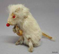 White Mouse Original Fur Toys Rabbit Skin Holding Corn Label 2in 1960s W Germany