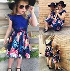 Mother Daughter Women Girls Kids Summer Backless Flower Party Dress Sundress AU