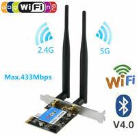 Dual Band Bluetooth 4.0 Wireless Desktop WiFi WLAN Card PCIE X1 Network Card JS