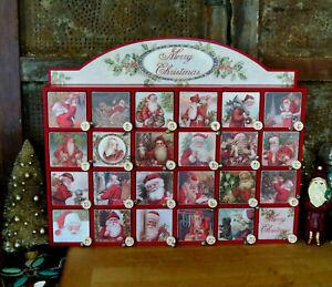 Christmas Vintage Victorian Style Santa Countdown Advent Calendar Box w Doors