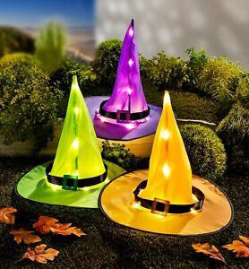 3 x LED Hexen Hut Halloween Deko Hexenhut  Timer als Gartenstecker oder Innen