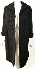 VTG Persian Lamb Fur Womens Coat/Jacket Curly hair M-L Peter Kadlec Black *1008