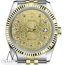 18K Yellow Gold & SS Rolex 26mm Datejust Diamond Champagne Metal Logo Jubilee