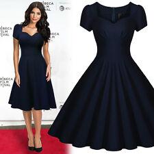 Damen Vintage Kleid Abendkleid Stretch Cocktailkleid Partykleid Dunkelblau 36-46