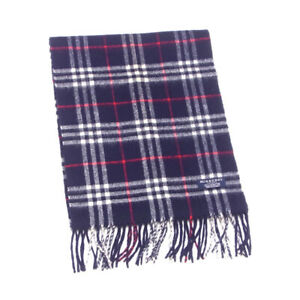BURBERRY Muffler Check White Wool Hair Auth Used L3009