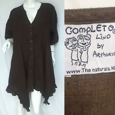 Completo Lino By Arthurio Quirky Artisan Lagenlook Linen Tunic Smock Top Sz XXL