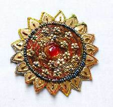 2 Hand-Beaded Appliques. Round Sun Bursts Embroidered With Metal Thread Bullion