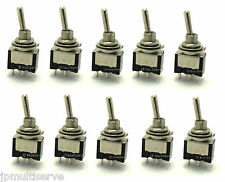 10 SPDT ON/OFF/ON Miniature Black Toggle Switch