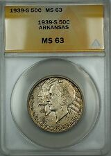 1939-S Arkansas Silver 50c Commemorative ANACS MS-63 (Better Coin) Toned DGH