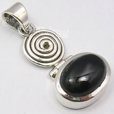 925 SOLID Silver High End BLACK ONYX HANDMADE LARGE CHUNKY Pendant 1 1/2 inches