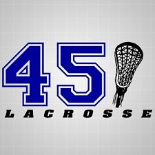 Lacrosse stick head vinyl decal,lacrosse varsity number silhouette sticker