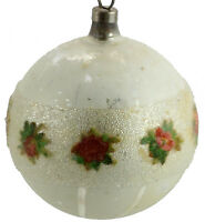 """Vintage Painted Striped Glass Christmas Tree Ornament 2"""""""