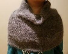 hand-knitted  Angora Goats cashmere simple  infinity scarf (Gray)