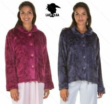 Ladies button front embossed bed jacket soft micro fleece nightwear two colours