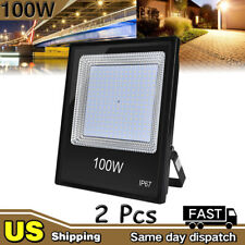 2Pcs 100W LED Flood Light Warm White Camping Outdoor Lighting Security Wall Lamp
